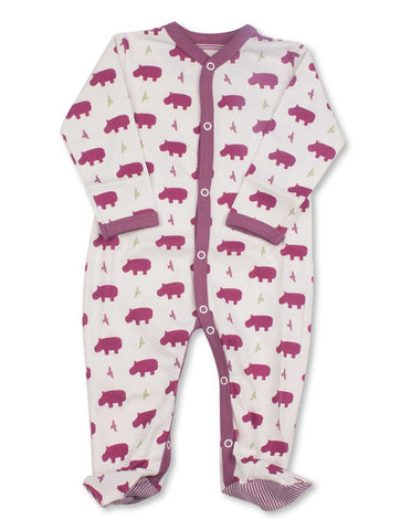 Hippo One-Piece Multi Raspberry Organic Cotton