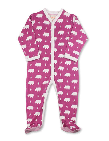 Hippo One-Piece Rasberry Organic Cotton