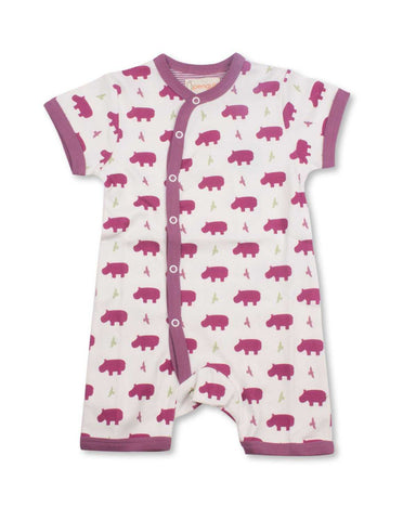 Hippo Short Romper Multi Raspberry Organic Cotton | Penguin Organics