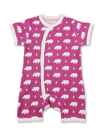 Hippo Short Romper Raspberry Organic Cotton | Penguin Organics