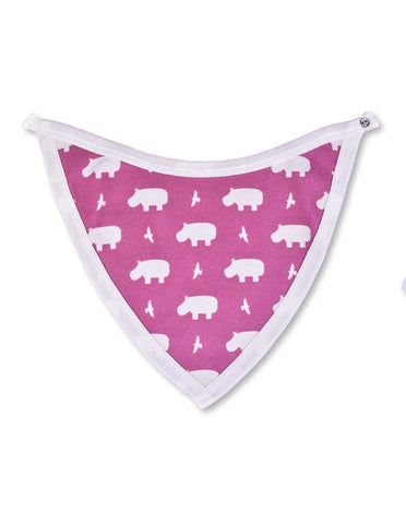Hippo Bib Rasberry Organic Cotton