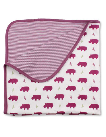 Hippo Blanket Multi Raspberry Organic Cotton