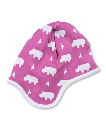 Hippo Bonnet Rasberry Organic Cotton | Penguin Organics