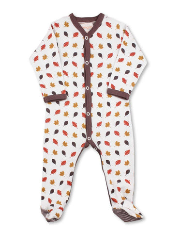 Leaves One-Piece Multi Brown Organic Cotton | Penguin Organics
