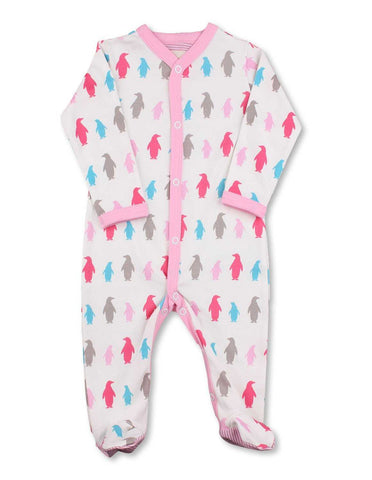 Penguin One-Piece Multi Pink Organic Cotton