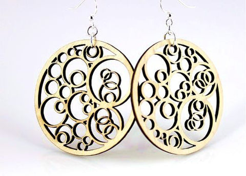 Wood Earrings- Geometric Circles