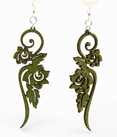 Wood Earrings- Long Floral Scrolls