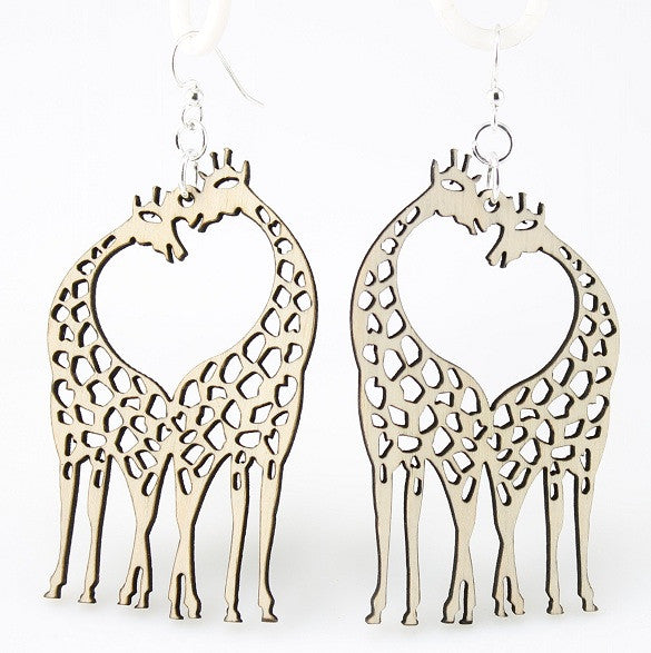 Wood Earrings- Giraffe Hearts