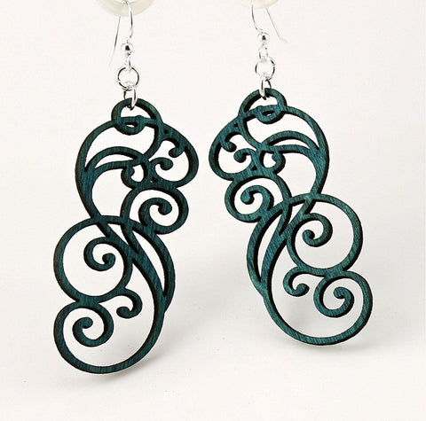 Wood Earrings- Filagree Scroll