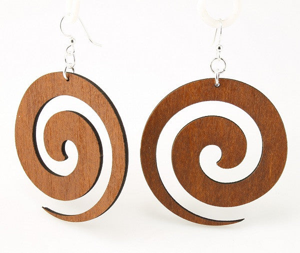 Wood Earrings- Tribal Swirls