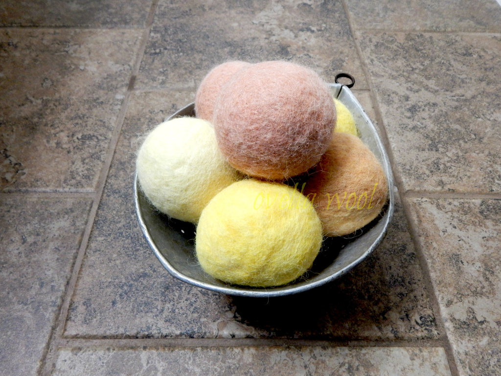 Artisan Alpaca and Wool Dryer Balls - Lemon Meringue Set of 6