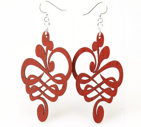 Wood Earrings- Floral Caligraphy