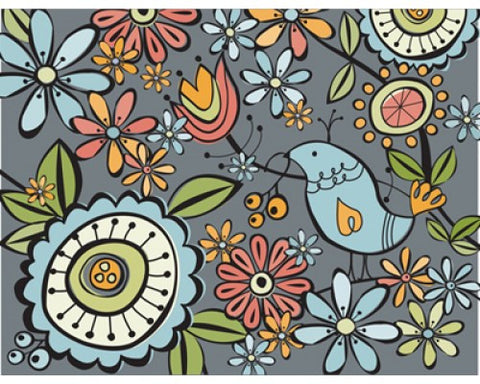 Recycled Paper Stationery Set - Birds and Flowers