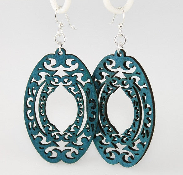 Wood Earrings- Oval Scroll