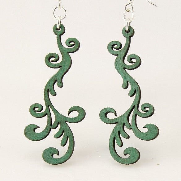 Wood Earrings- Green Hollanders