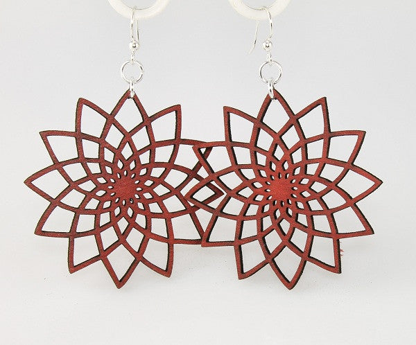 Wood Earrings- Red Star Flower