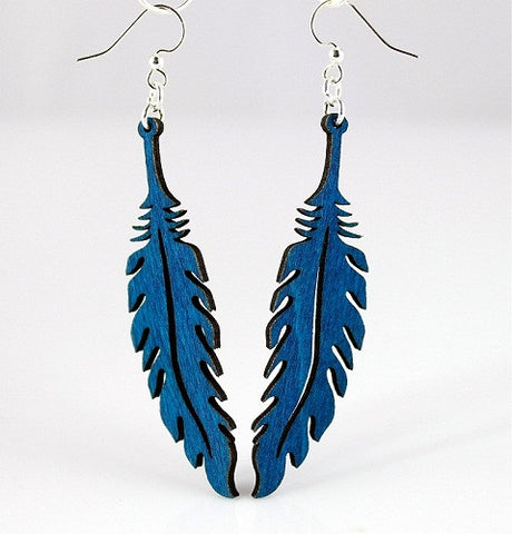 Wood Earrings- Delicate Feathers