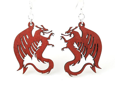 Wood Earrings- Dragons