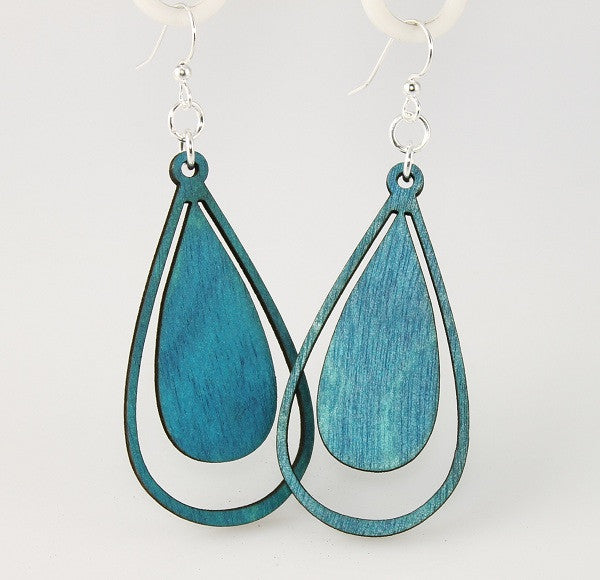 Wood Earrings- Raindrops