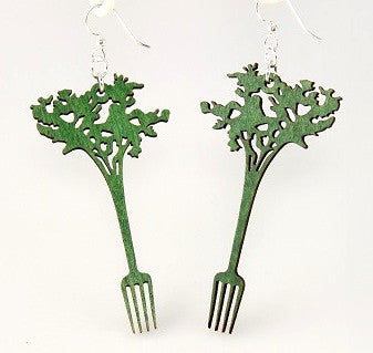 Wood Earrings- Eat Your Veggies!