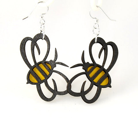 Wood Earrings- Bumble Bees