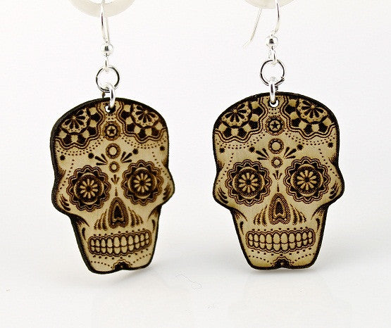 Wood Earrings- Sugar Skulls