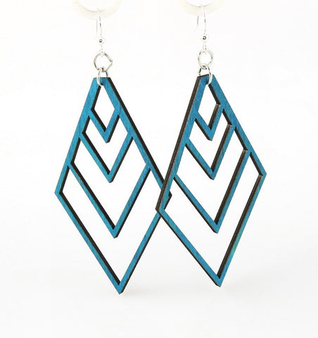 Wood Earrings- Inverted Geometric Pyramid