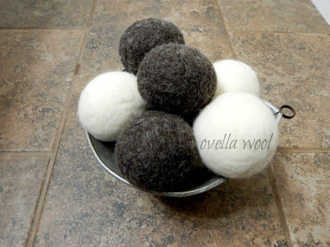 Artisan Natural Sheep Wool Dryer Balls - Chocolate Crema Set of 6