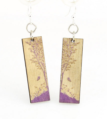 Wood Earrings- Lavender Nature's Window Earrings and Bracelet Set
