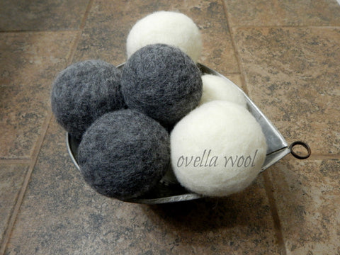 Artisan Natural Sheep Wool Dryer Balls - Smoky Crema Set of 6