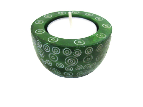 Hand Painted Tea Light Holder- Green Spiral