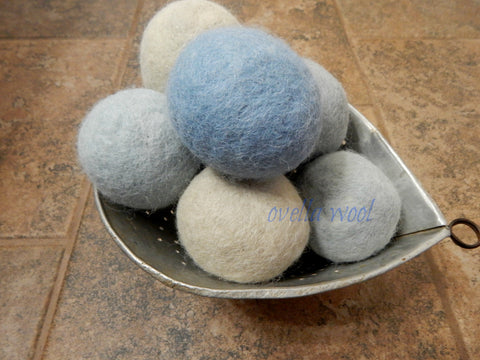 Artisan Alpaca and Wool Dryer Balls - Misty Morning Set of 6