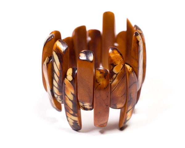 Organic Tagua Nut Amazon Bracelet- Chestnut
