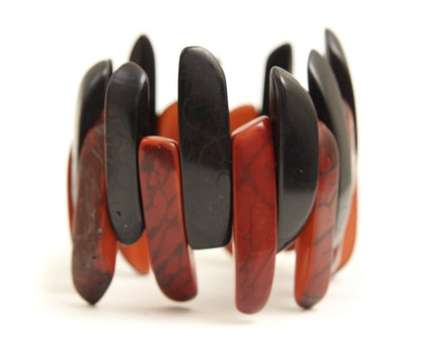 Organic Tagua Nut Amazon Bracelet- Black and Red