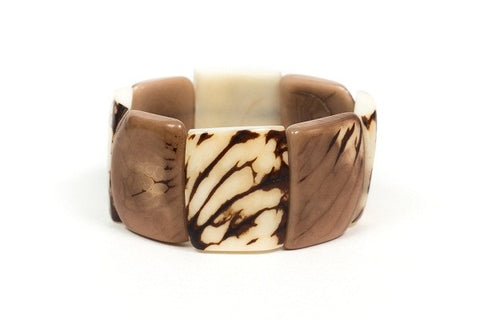 Organic Tagua Nut Natural Stones Bracelet- Ivory and Cafe con Leche