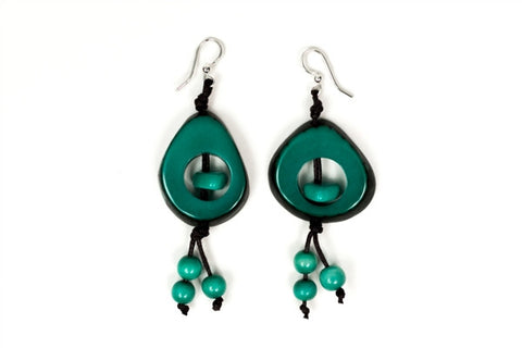 Organic Tagua Nut Aztec Earrings - Esmerelda