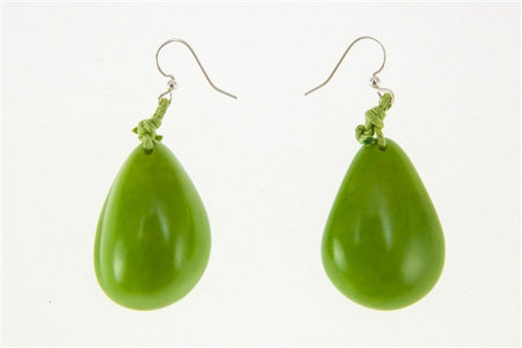 Organic Tagua Nut Rain Drop Earrings - Mint