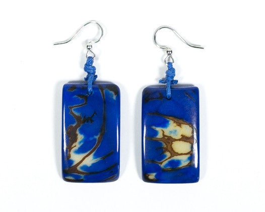 Organic Tagua Nut Natural Stone Earrings - Azul