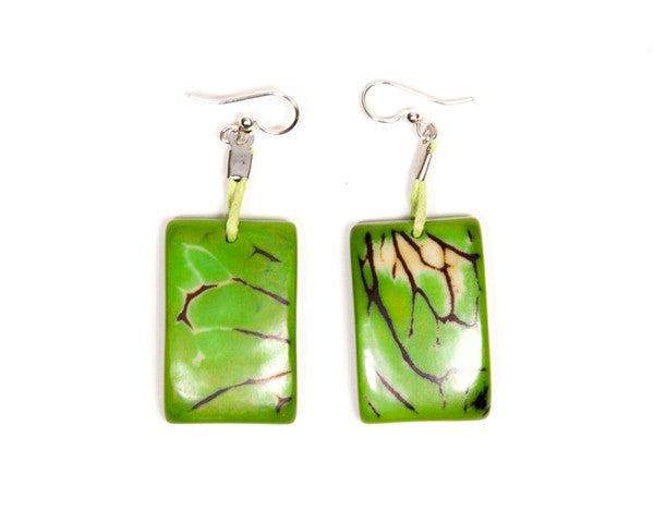 Organic Tagua Nut Natural Stone Earrings - Limon