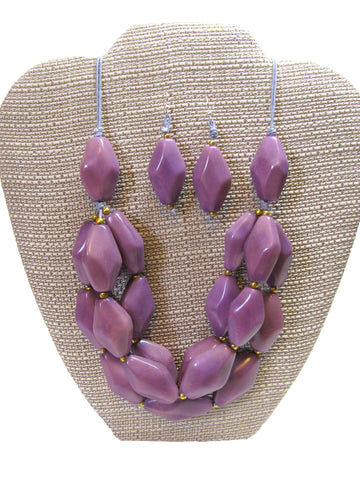 Organic Tagua Nut Joyes de Rio Necklace and Earring Set-  Lavender
