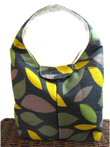 Artisan Handcrafted Cotton Insulated Lunch Bag - Forest Leaves
