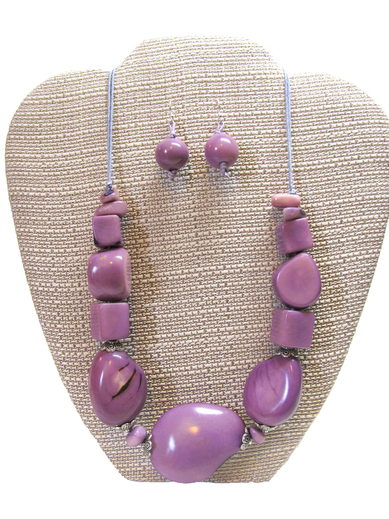 Organic Tagua Nut Salinas Necklace and Earring Set-  Lavender