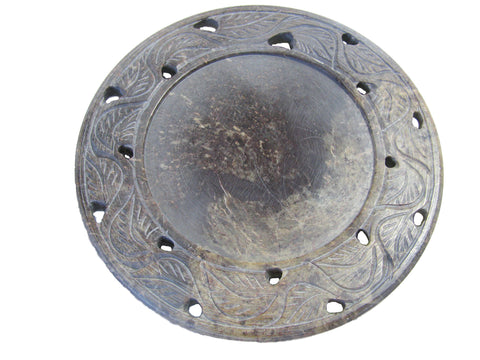 Carved Soapstone Candle Plate