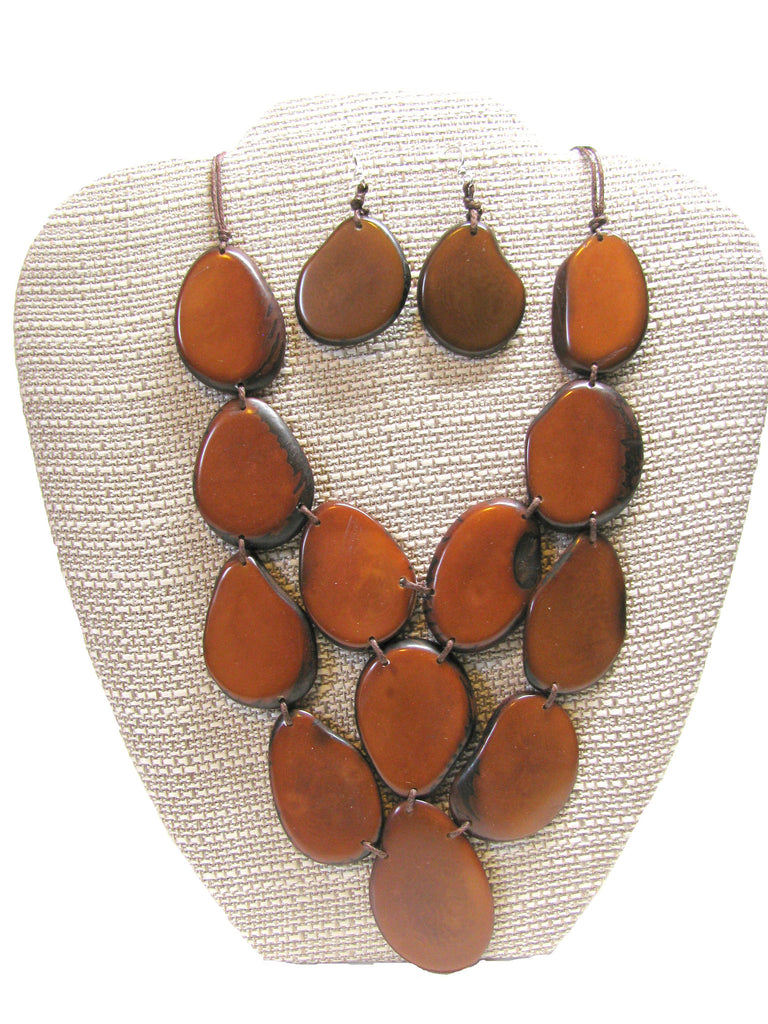 Organic Tagua Nut Waterfall Necklace and Earring Set-  Chestnut