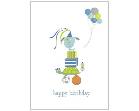 Recycled Paper Birthday Card - Blueberry Dog