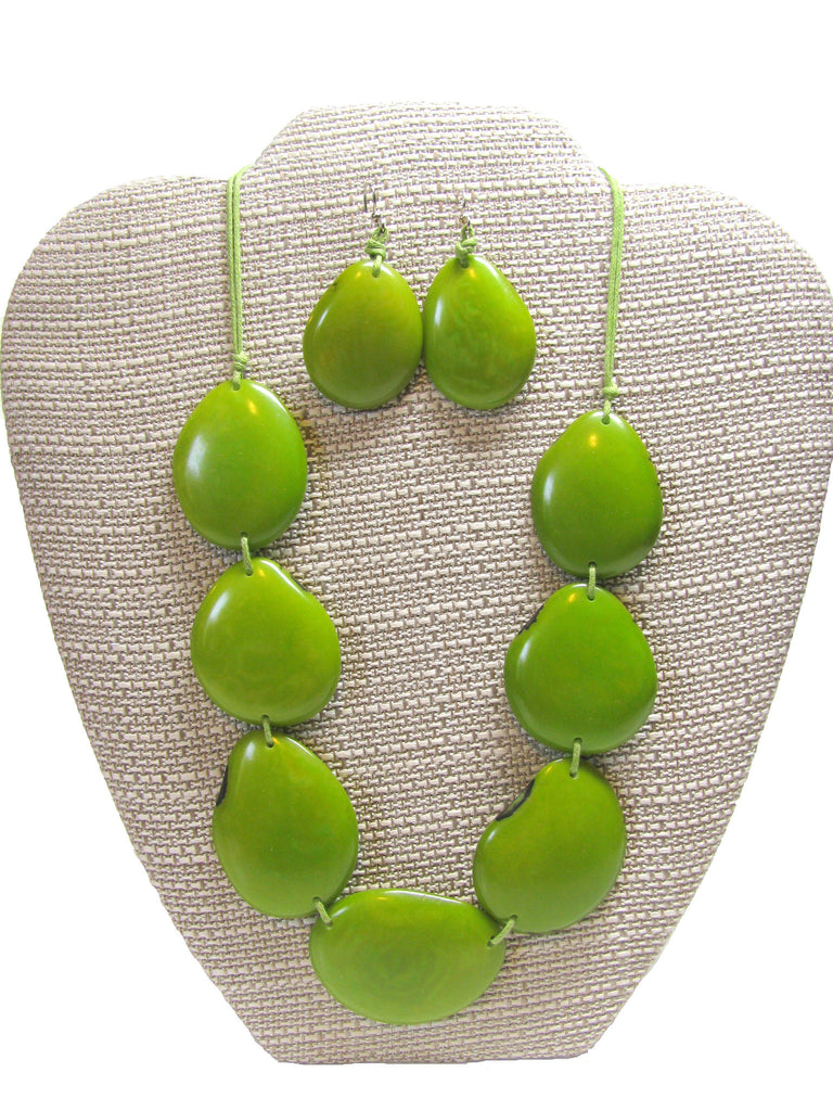 Organic Tagua Nut River Stones Necklace and Earring Set -  Lime