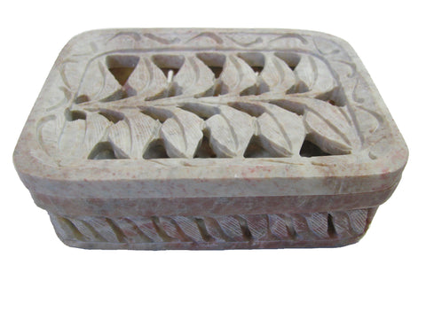 Hand Carved Tropical Leaves Soapdish