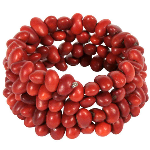 Natural Red Chocho Coiled Bracelet