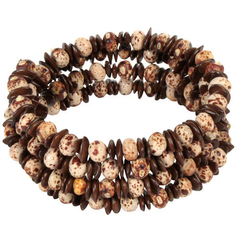 Natural Brown and White Coiled Bracelet