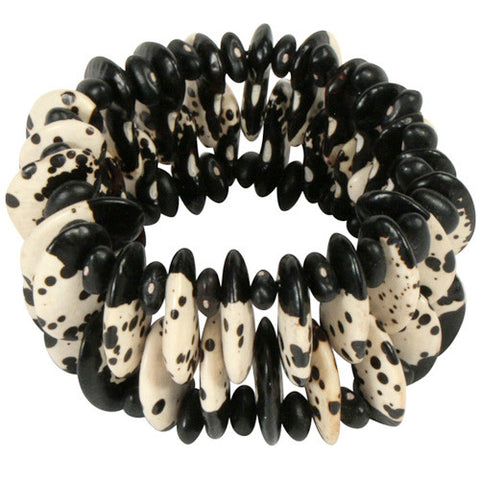 "Natural Black and White Spotted ""Dalmatian"" Bracelet"